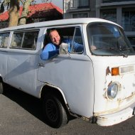 Darryl and his 1976 VW Bus fresh from the garage - still needs a paint job:)