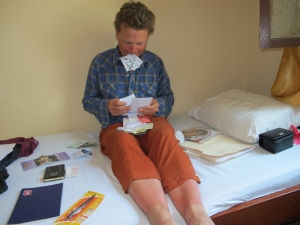 battling the receipts while relaxing my sunburned legs
