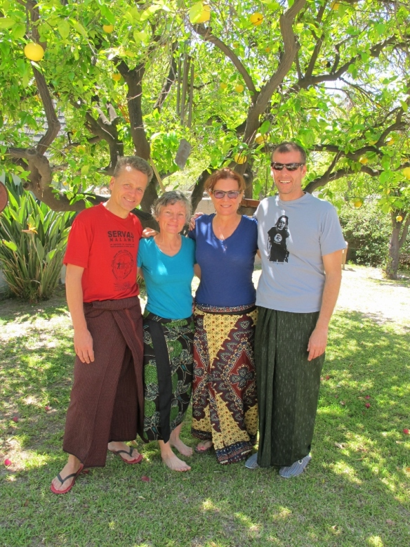 our friends Shelley and Detlef who gave us a home when we arrived in LA. Nadine  and Shelley wear fabrics from Africa while Detlef and I sport longyis from Myanmar